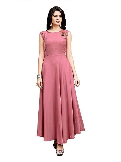 18e1004c40 FENI CREATION Women's Reyon Cotton Stiched Fancy Anarkali Long Gown(Pink_Stiched)  ...