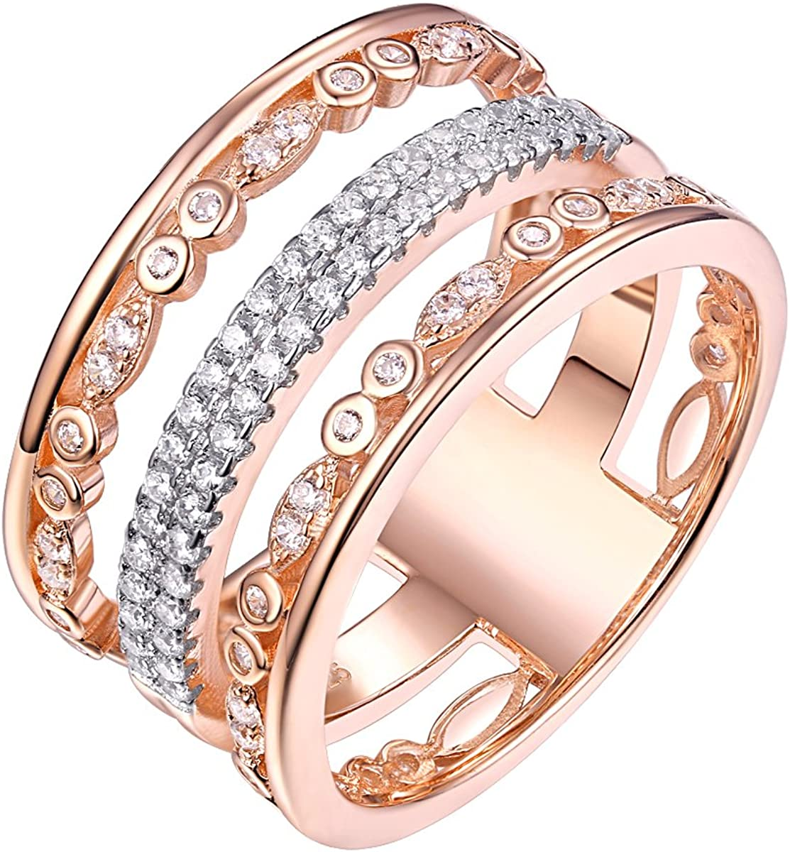 Newshe Wedding Bands for Women Eternity Rings Rose Gold Sterling Silver Cubic Zirconia 9mm Size 5-10
