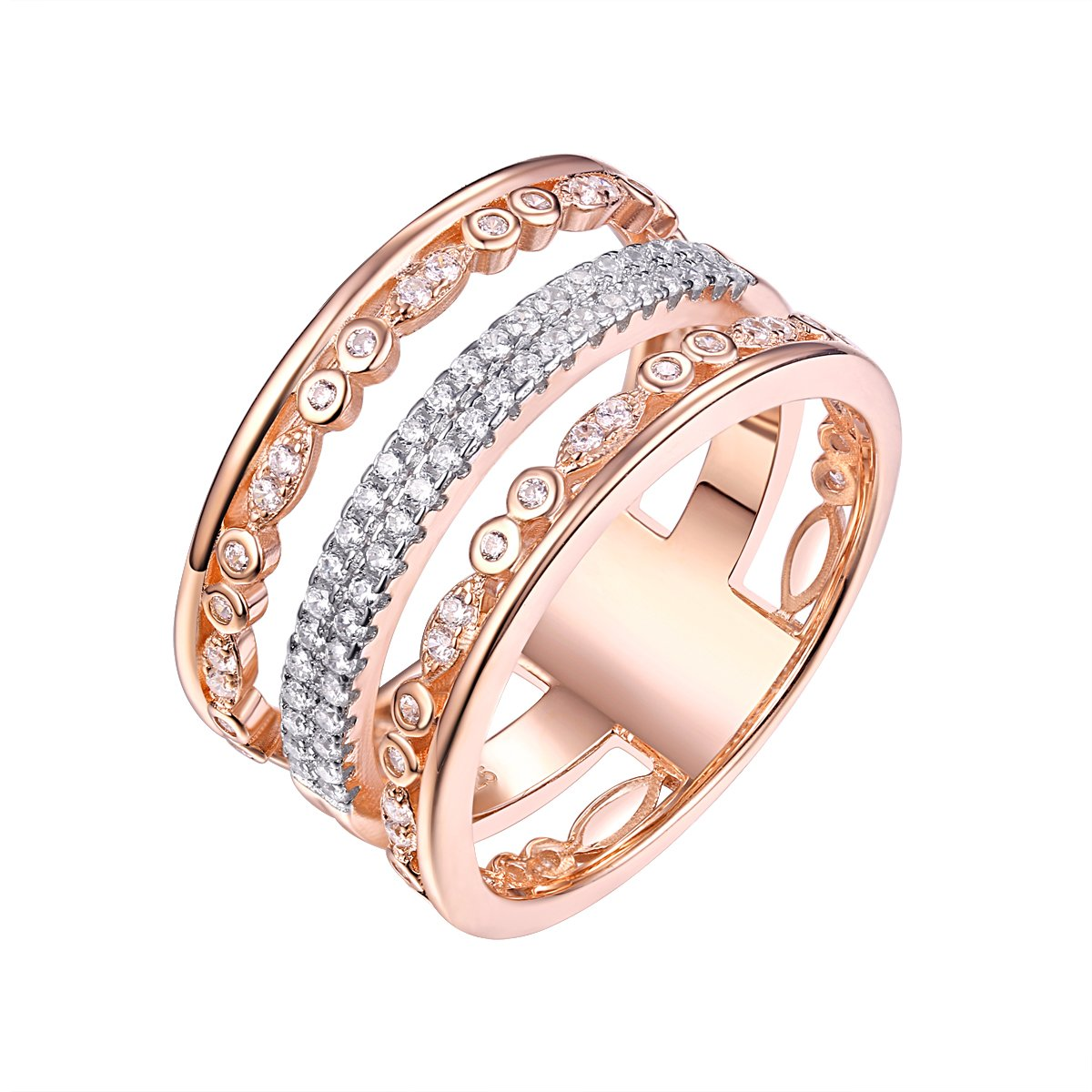 Newshe Wide Wedding Band For Women White Cz 925 Sterling Silver Rose Eternity Gemstone Ring Size 7
