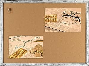 Cork Board Bulletin Board 48 x 36 Inches, Retro Style Framed 3' x 4' Pin Board, 10 Push Pins Included