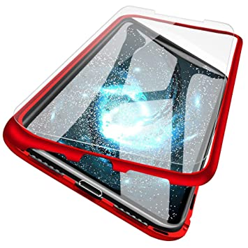 Funda de Adsorción Magnética Compatible con Xiaomi Redmi Note 6 PRO,[protector de pantalla][360 Full Body Protection] [Marco metálico] Contraportada ...