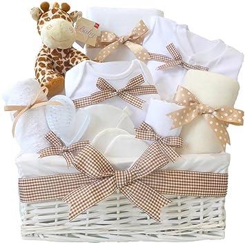 Mr Giraffe Large Baby Hamper Basket Unisex Neutral Baby Shower Nappy