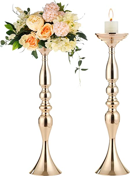 Gold Tall Candle Holder Wedding Centerpieces For Tables 50cm 19 7 H Flower Holder 2pcs Vases For Centerpieces Flower Stand And Wedding Table Decorations Tall Centerpieces For Party Event G50 Kitchen Dining