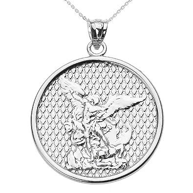 Amazon 14k white gold saint michael pendant necklace 16 jewelry 14k white gold saint michael pendant necklace 16quot aloadofball Choice Image