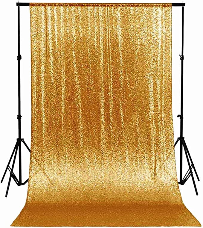 7X7,Rose Gold PartyDelight 7Ft X 7FT Rose Gold Non-Transparent Satin Sequin Backdrop Curtain for Party Wedding Christmas Photography.