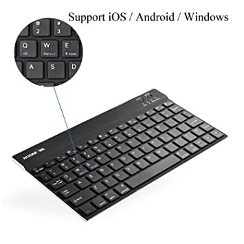 (Support Android, iOS, and Windows) Rocketek Ultra-Slim(1/4 inch) Wireless Bluetooth 3.0 Keyboard for ...