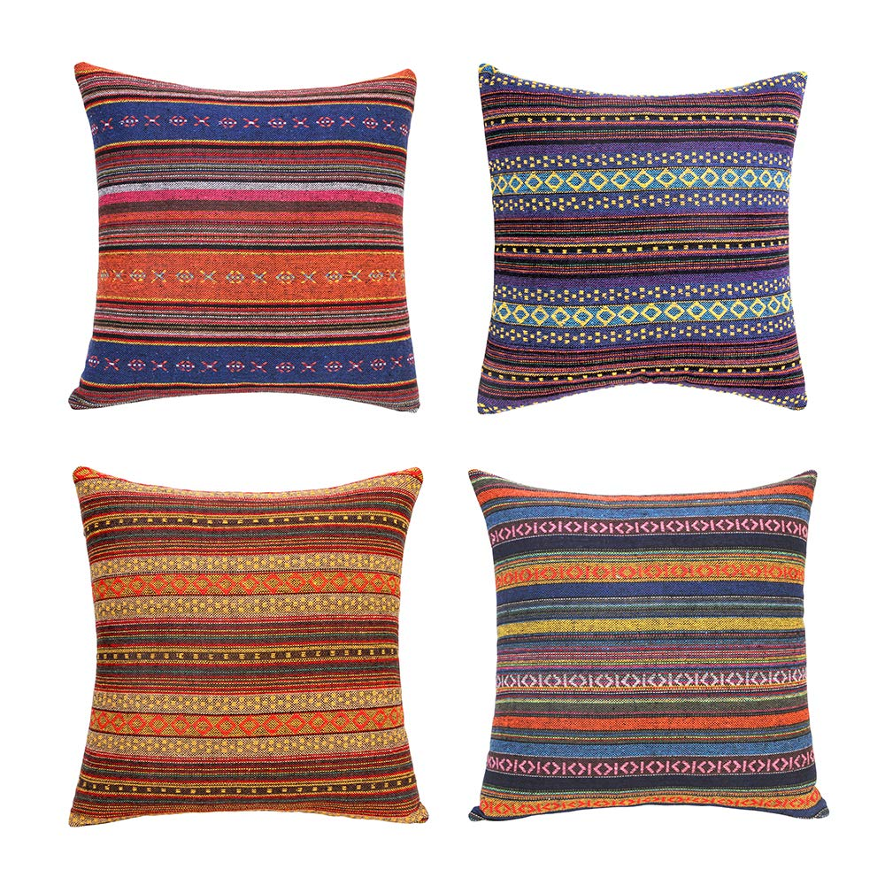 Merrycolor Decorative Throw Pillow Cover for Couch Sofa Bed Bohemian Retro Stripe Cotton Blend Linen Pillow Case(Only Pillow Cover (4 Pieces, 18''x18'', J-1 Mix (4 Pack))