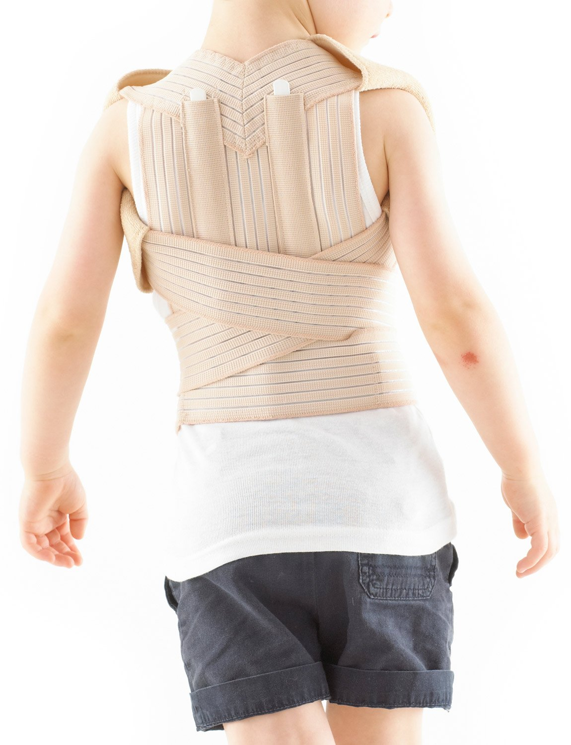 NEO G Kids Clavicle Brace - Beige - Medical Grade Quality, pre/post operative aid HELPS with early juvenile kyphosis, rounded or slumped shoulders, provides additional back support - ONE SIZE Unisex