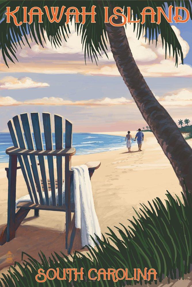 Kiawah Island, South Carolina - Adirondack and Palms (12x18 Art Print, Wall Decor Travel Poster)