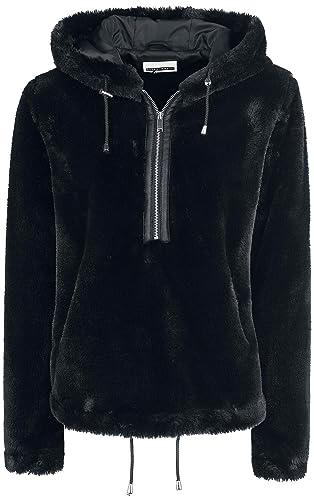 Noisy May Emmy Fake Fur Hood Anorek Chaqueta Mujer Negro
