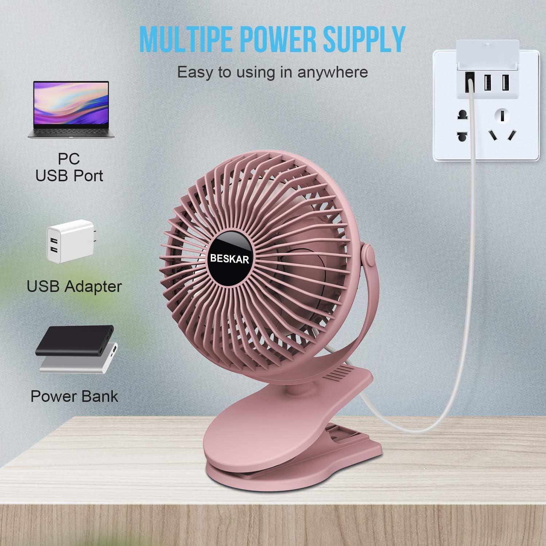 BESKAR USB Clip on Fan,360/°Rotate Mini Desk Fan,Portable Cooling Fan with 3 Speeds,USB Powered Stroller Fan,Sturdy Clamp,Ultra Quiet,Personal Small fan for Office,Home,Camping