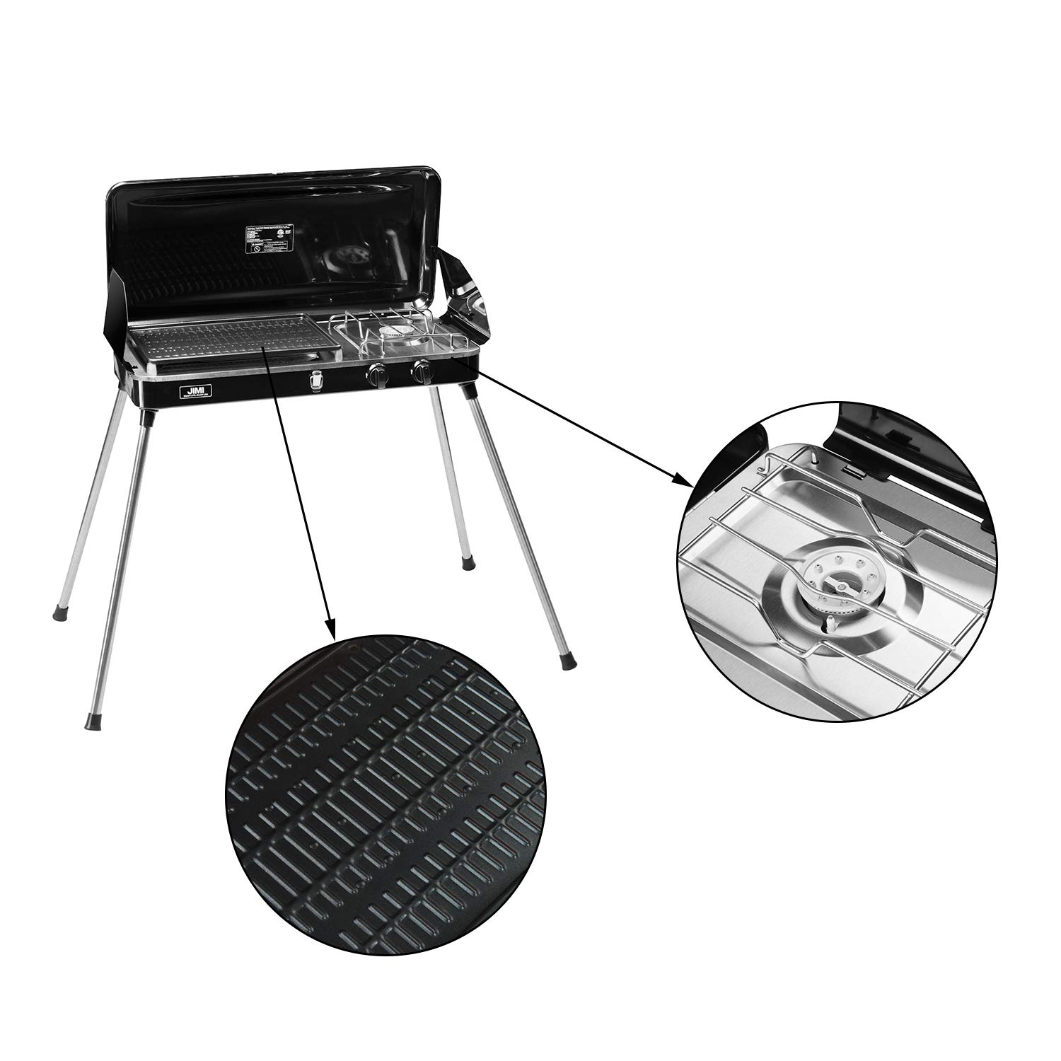 1fea5d6ab13fc6 Amazon.com: Liquid Propane BBQ Gas Grill,Barbecue Grill Outdoor Cooking  Camping Stove Portable Stainless Steel with Free Hose and Adapter for  Outdoor ...