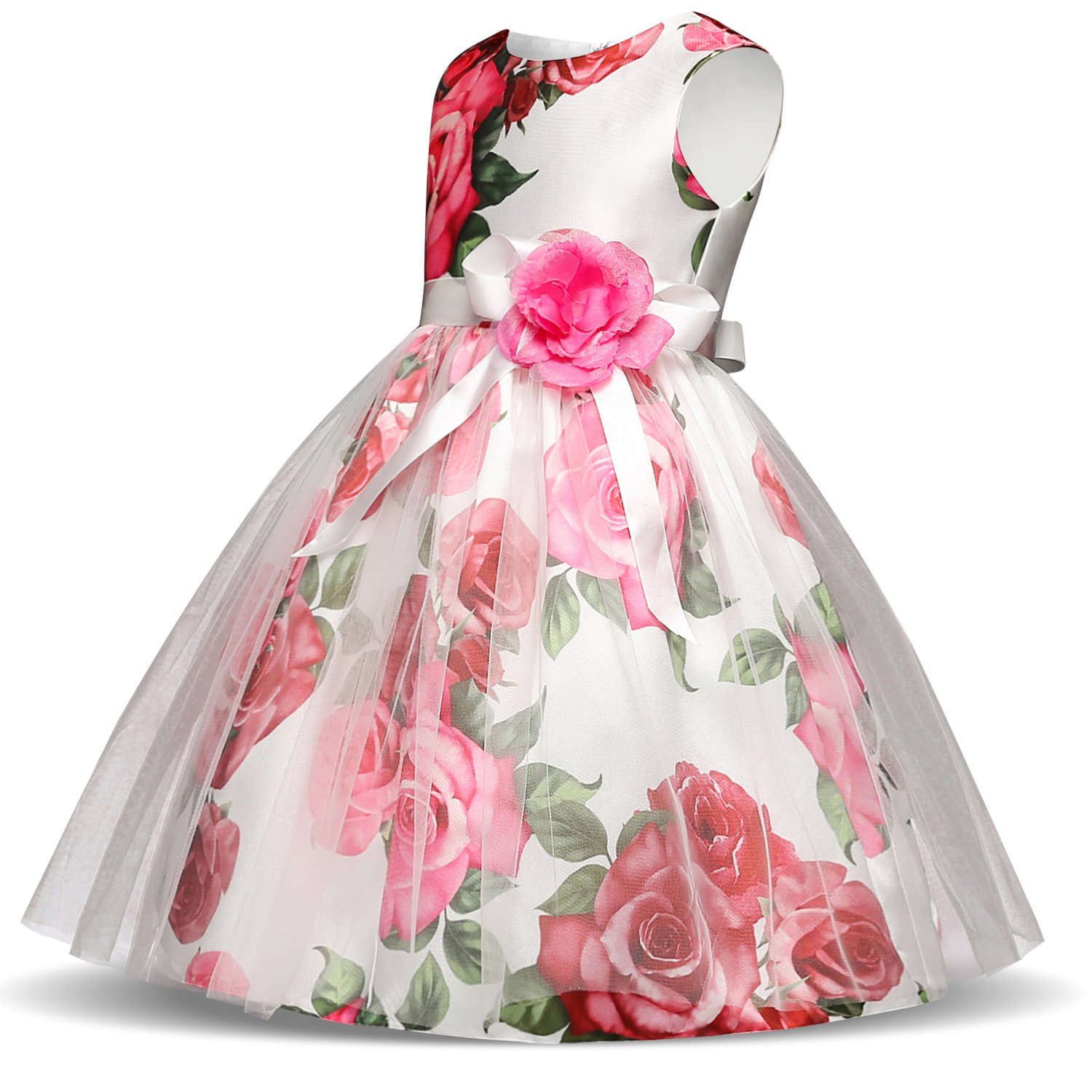 NNJXD Girl Flower Printed Cotton Elegant Tulle Bow Belt Princess Dress Size (130) 5-6 Years Pink by NNJXD (Image #3)