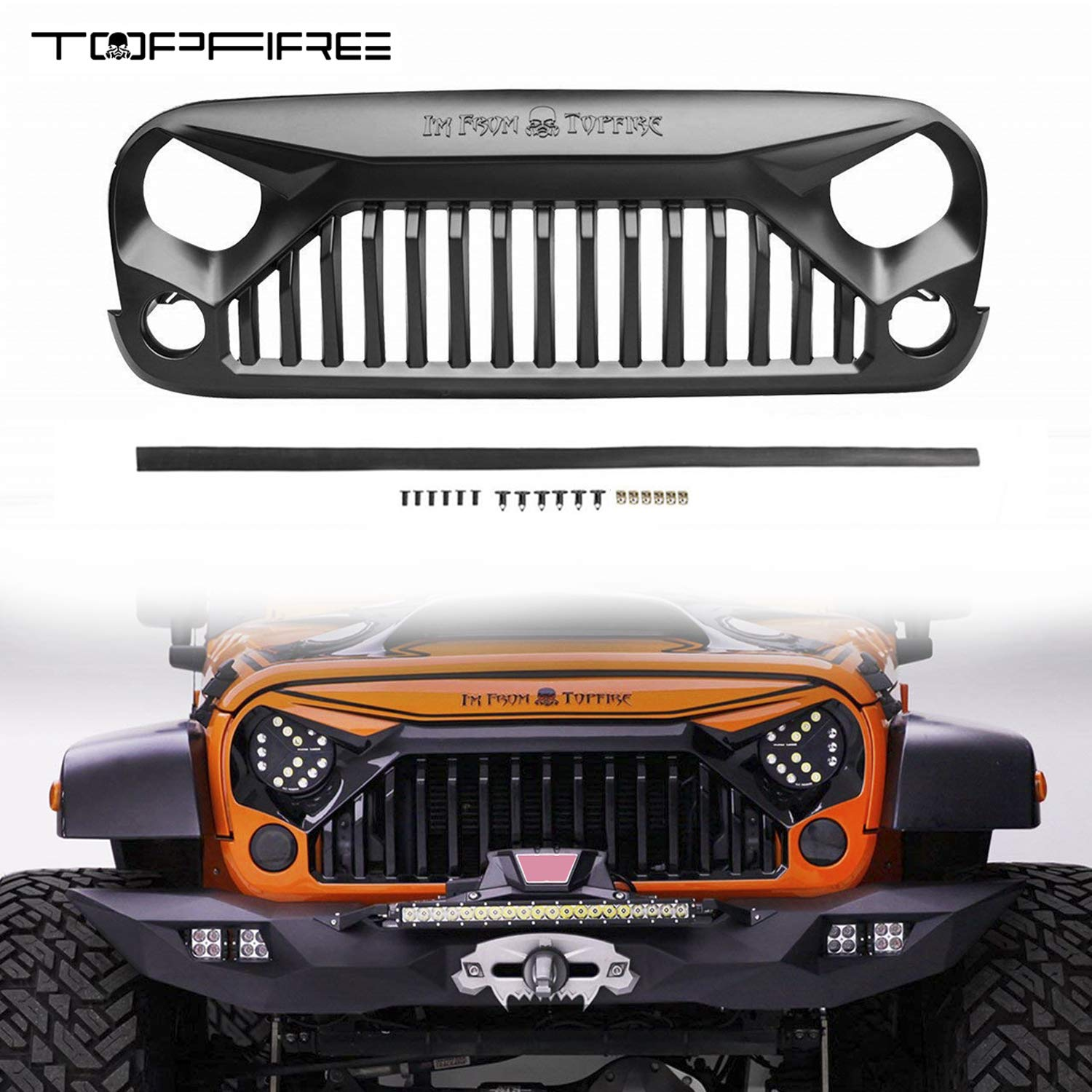 TOPFIRE Front Grill for Jeep Wrangler JK/JKU 2007-2018 Quality Painted Grill, White & Black