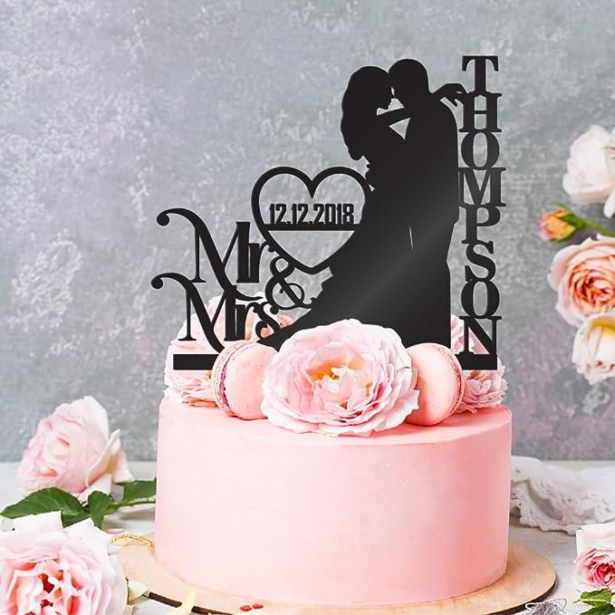 Supvox 1PC Wedding Cake Topper MR MRS Wooden Wedding Cake Topper Decorativefor Wedding Anniversary 6 x 3.82 x 0.12 inch