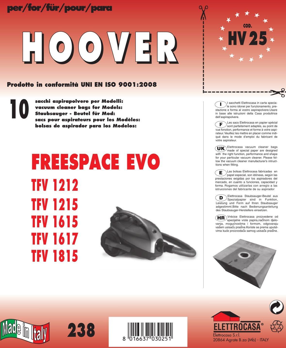 per aspirapolvere Hoover Freespace Sprint Flash Sacchetti di carta originali H64 confezione da 2 Hoover