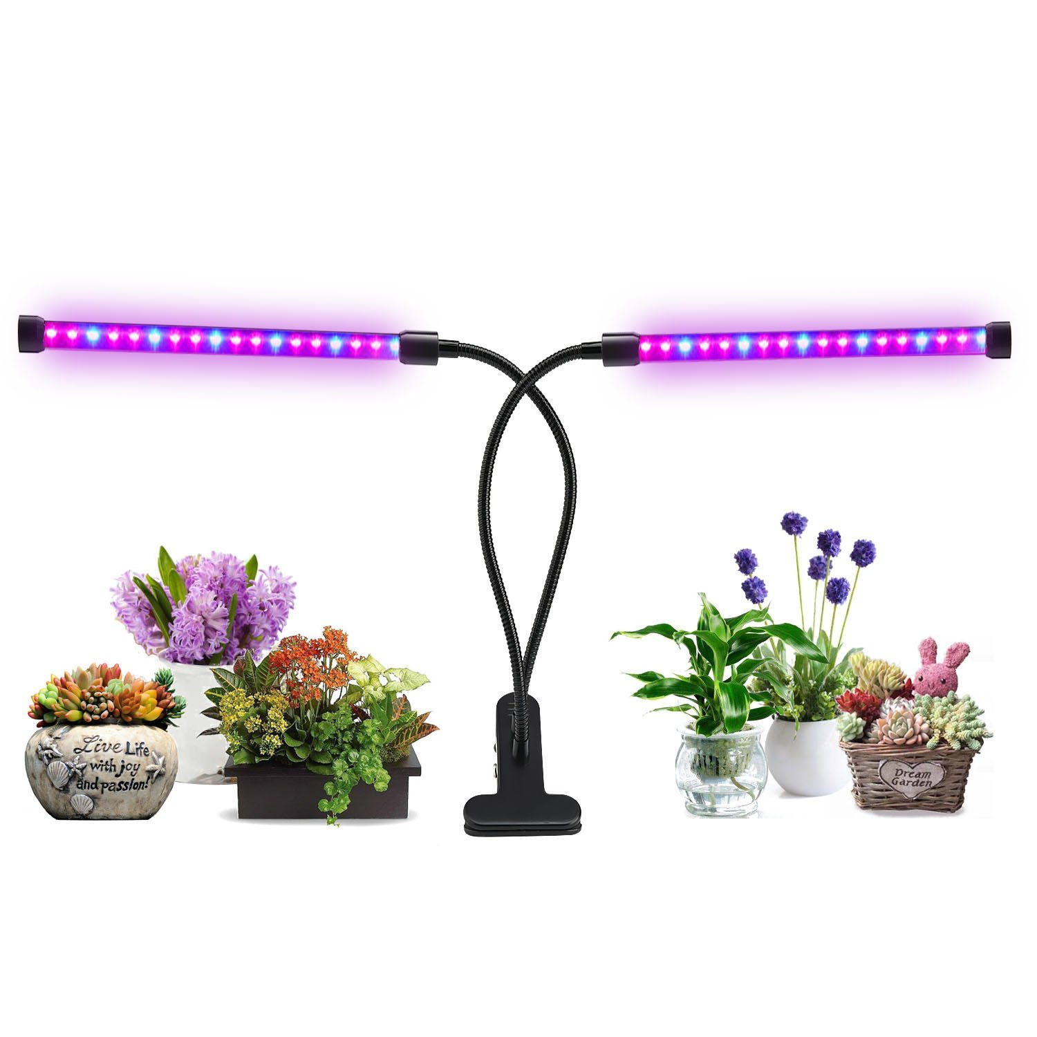 Lovebay Dual Head LED Plant Grow Light 2 Dimmable Levels Grow Lamp Bulbs with Adjustable 360° Gooseneck for Indoor Plants Hydroponics Greenhouse Garden Home Office, Timer Connectable [2018 Upgraded] by Lovebay