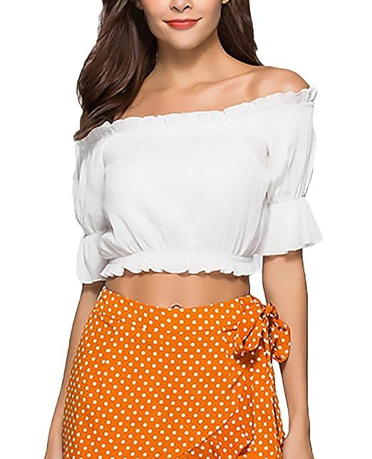 Crop Tops Mujer Verano Elegantes Volantes Manga Corta Retro Carmen Shirt Tumblr Shirt Blanco Sin Tirantes Sin Tirantes Moda Joven Niña Camisas Cortos Tops ...