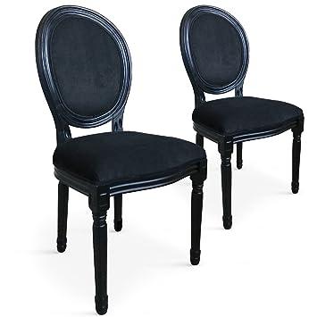 94815dca8e5af Lot de 2 chaises médaillon Louis XVI velours Noir: Amazon.fr ...
