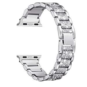 Secbolt Bling Bands Compatible with Apple Watch Band 38mm 40mm Metal Replacement Wristband Compatible Iwatch Series 5 4 3 2 1, Silver
