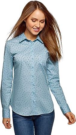 oodji Ultra Mujer Camisa Básica de Algodón: Amazon.es: Ropa y accesorios