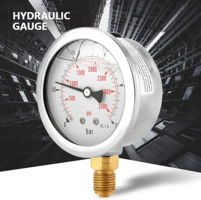 Dnasrivew 0-200psi 0-14bar 2inch Dial Hydraulic Air Pressure Gauge 1//4inch NPT Manometer 1