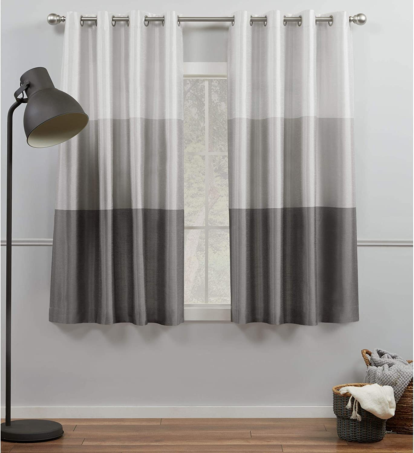 Exclusive Home Curtains Chateau Striped Faux Silk Grommet Top Curtain Panel Pair, 54x63, Black Pearl