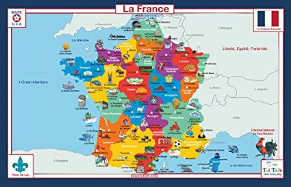 Map Of France For Children.Tot Talk France Geography Educational Placemat For Kids Washable And Long Lasting