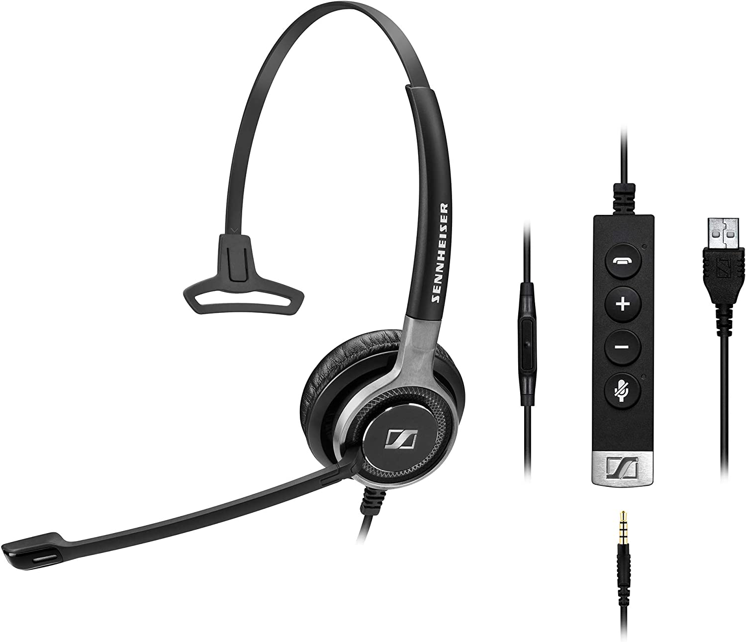 Sennheiser SC 635 USB (507254) - Single-Sided Business Headset | UC Optimized and Skype for Business Certified | For Mobile Phone, Tablet, Softphone, and PC (Black)