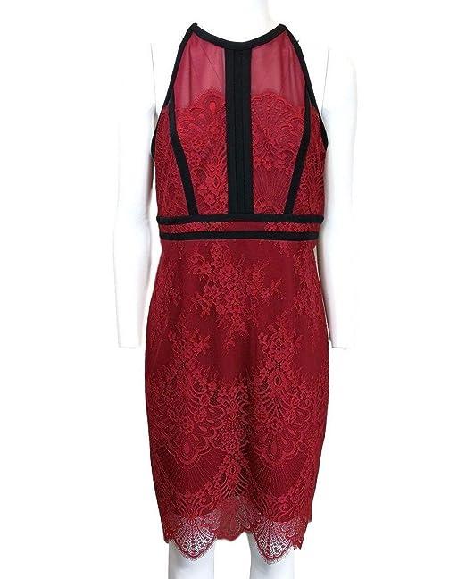 Liu Jo Abito Vestito Tubino in Pizzo Rosso Scuro profilato in Nero   Amazon.it  Abbigliamento 79c2e8f5ecc