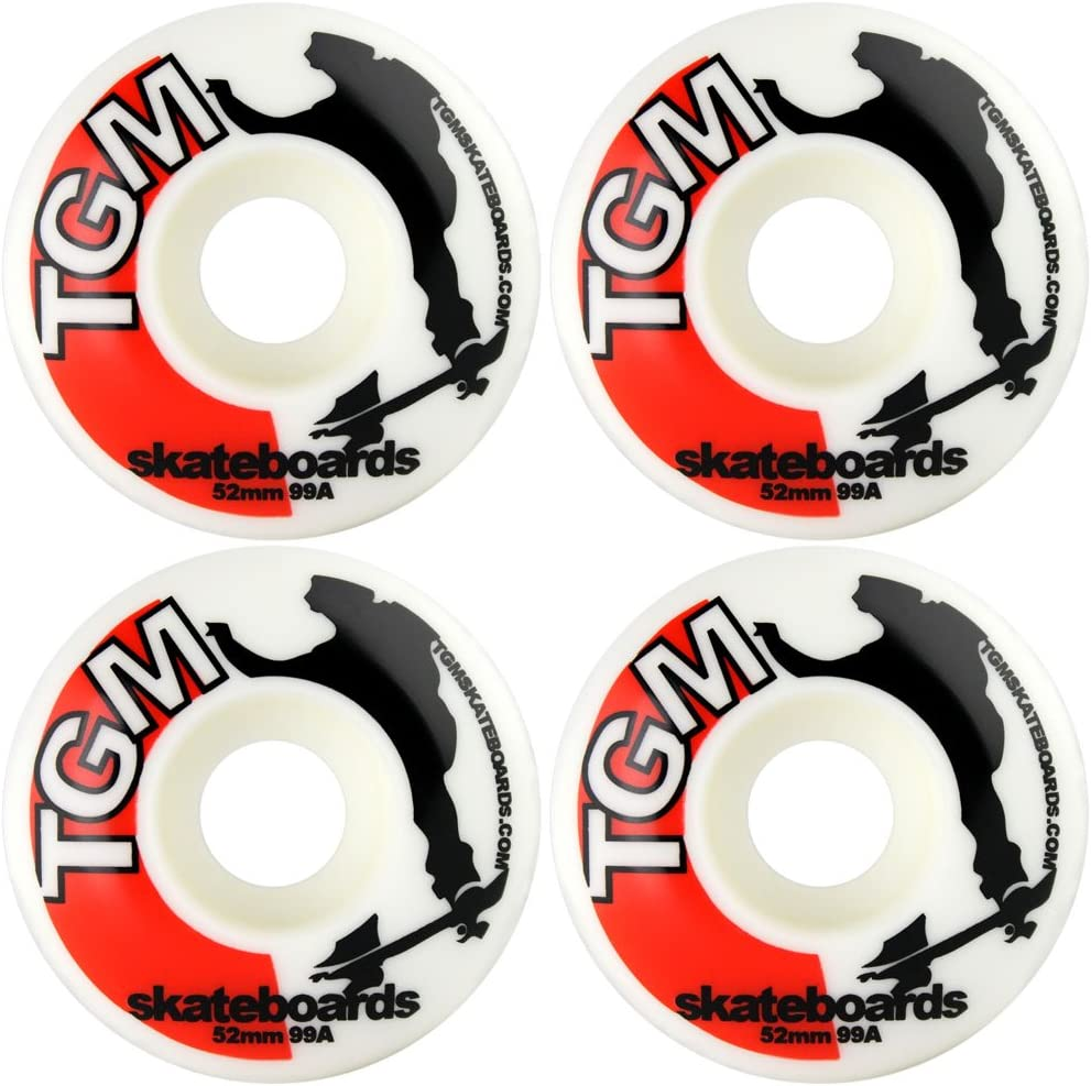 TGM Skateboard Wheels 52mm White Logo