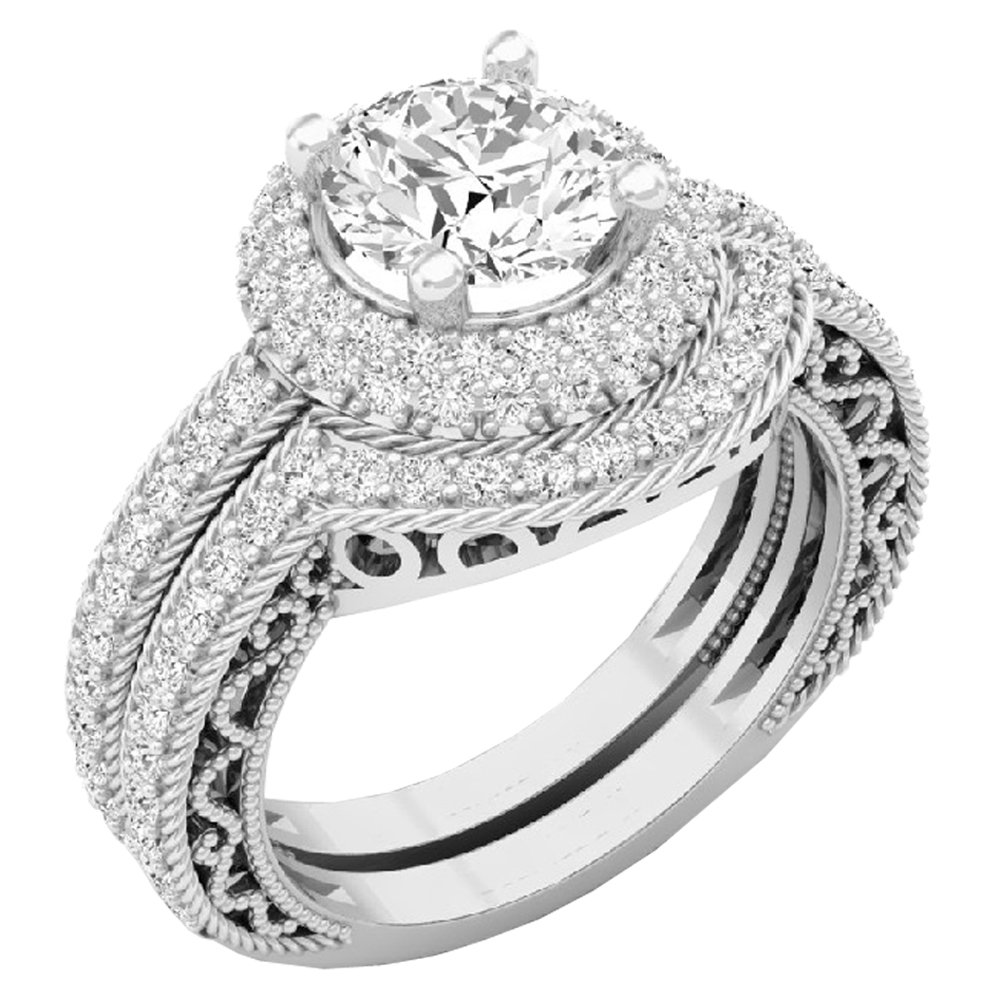 Dazzlingrock Collection 4.40 CT 14K Halo Round Cubic Zirconia CZ Wedding Bridal Engagement Ring Set, White Gold, Size 6.5