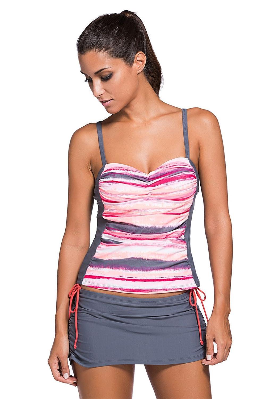 Sexybody Women's Colorblock Two Pieces Tankini Top Skirtini Set Swimsuits Swimwear