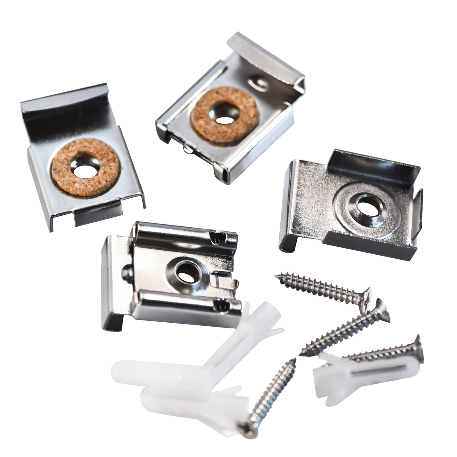 Shappy 2 Sets (8 Pieces) Spring Loaded Mirror Hanger Clips Set Unframed Mirror Mount Clips with Rawl Plugs and Screws