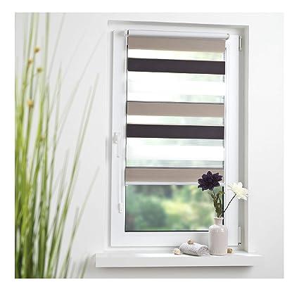 Liedeco® DUO Rollo Klemmfix - 90 x 160 cm braun/beige/weiß (Breite x Höhe) / 3 farbig / transparent lichtdurchlässig blickdic