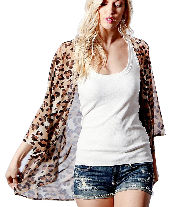 cd1521f014c87 Top10: Preppy Doll Made in USA Women's Animal Leopard Cheetah Print Chiffon  Open Front Light Weight Kimono Cardigan Dolman Top