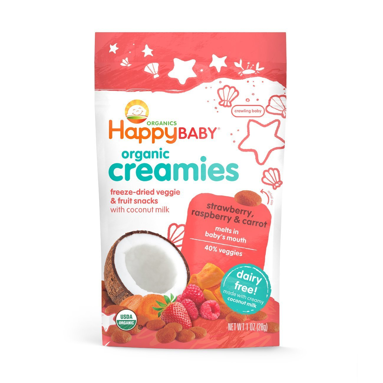 Happy Baby Organic Creamies Freeze-Dried Veggie & Fruit Snacks with Coconut Milk Strawberry Raspberry & Carrot, 1 Ounce Bag Dairy Free Baby or Toddler Snacks, Organic Non-GMO Gluten Free Kosher by Happy Baby