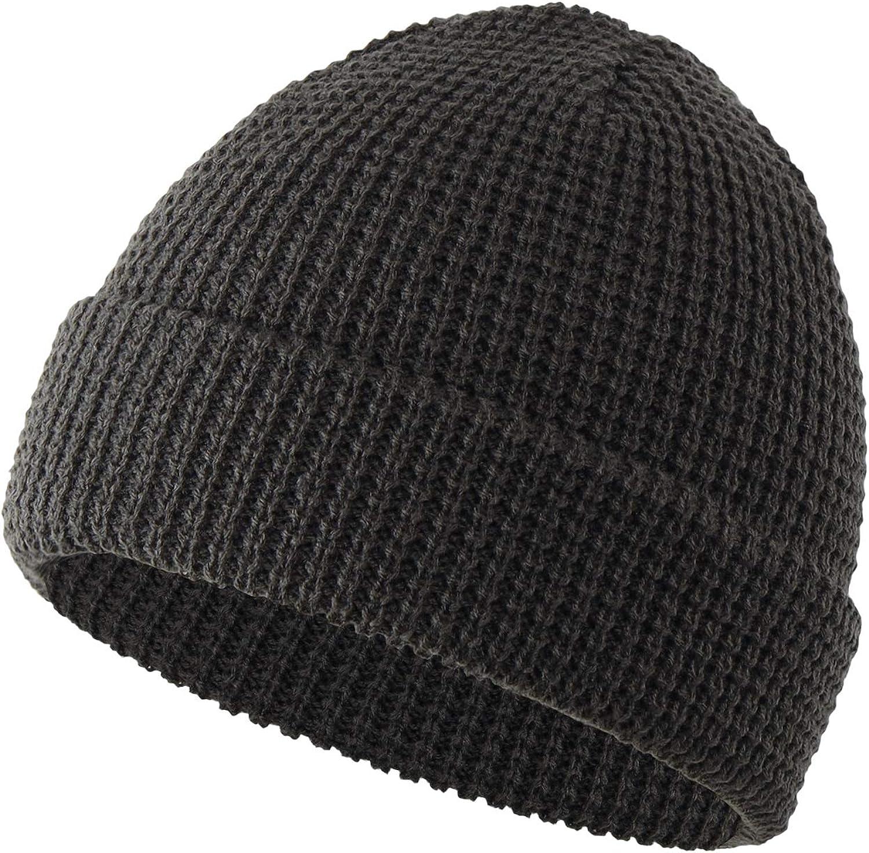 Home Prefer Mens Winter Hat Rib Knitted Cuff Beanie Daily Warm Skull Beanie Cap
