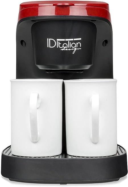 ID Italian IDECUCOF02 CAFETERA COFFEE DUO PRO, 450w-IDECUCOF02, 450 W, 0.24 litros, acero inoxidable, Negro, Rojo: Amazon.es: Hogar