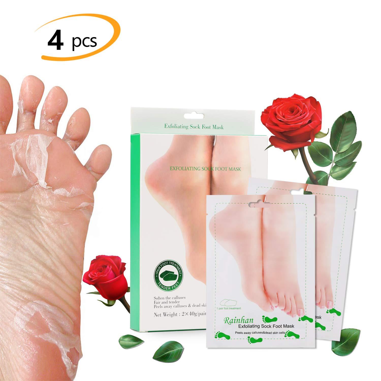 2 Pairs Exfoliating Foot Peeling Mask Socks, Phogary Moisturizing Rose Scented Peel Booties for Callus Dead Skin Repair Cracked Heels get Soft Baby Feet