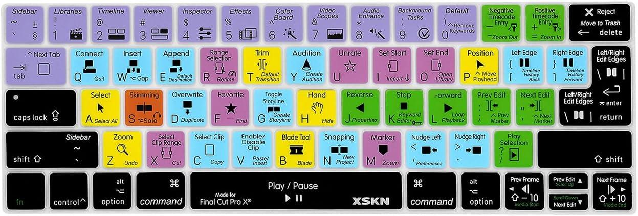 XSKN Final Cut Pro X 10 English Shortcut Keyboard Cover Skin for Touch Bar Models MacBook Pro 13 inch (A1706 A1989) and MacBook Pro 15 inch (A1707 A1990) US & EU Versions
