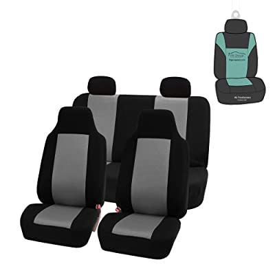 FH Group FB102114 Classic Full Set High Back Flat Cloth Car Seat Covers w. Gift, Gray/Black- Fit Most Car, Truck, SUV, or Van: Automotive