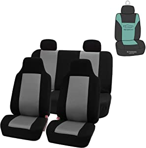 FH Group FB102114 Classic Cloth Seat Covers (Gray) Full Set with Gift – Universal Fit for Cars Trucks & SUVs
