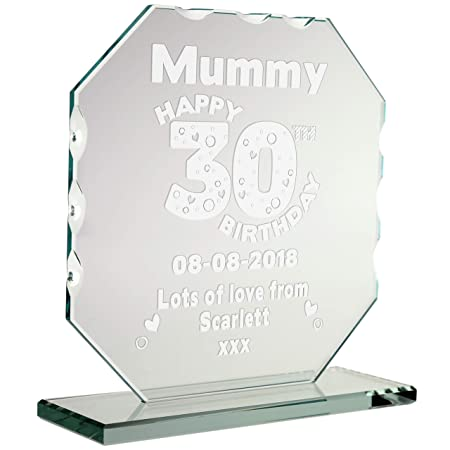 a9059980cee CRAZY TONY S Aunties Engraved 30th Birthday Cut Glass Frame Personalised  Birthday Plaque Gift  Amazon.co.uk  Kitchen   Home