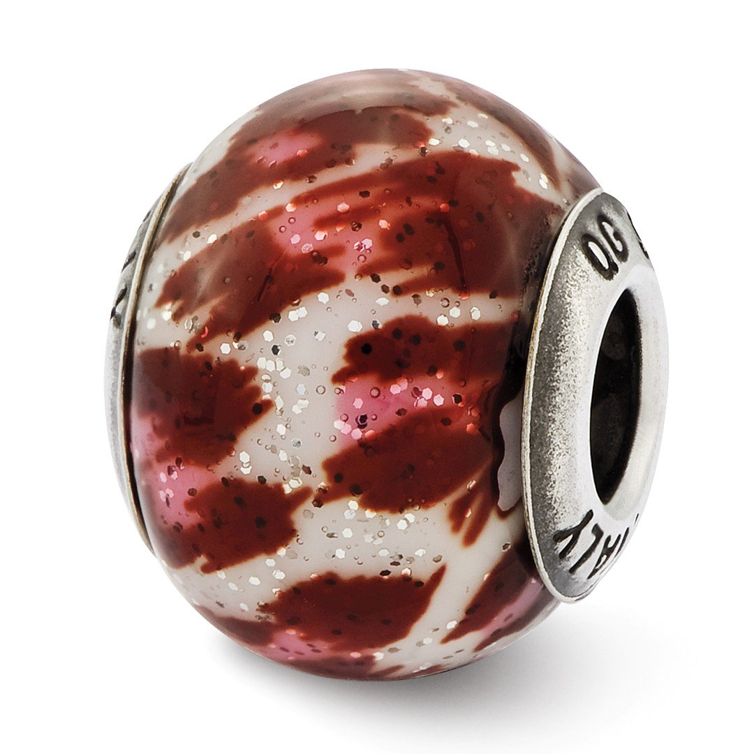ICE CARATS 925 Sterling Silver Charm For Bracelet Italian Pink Brown Glitter Glass Bead Overlay Designed Glas Fine Jewelry Ideal Gifts For Women Gift Set From Heart by ICE CARATS (Image #1)