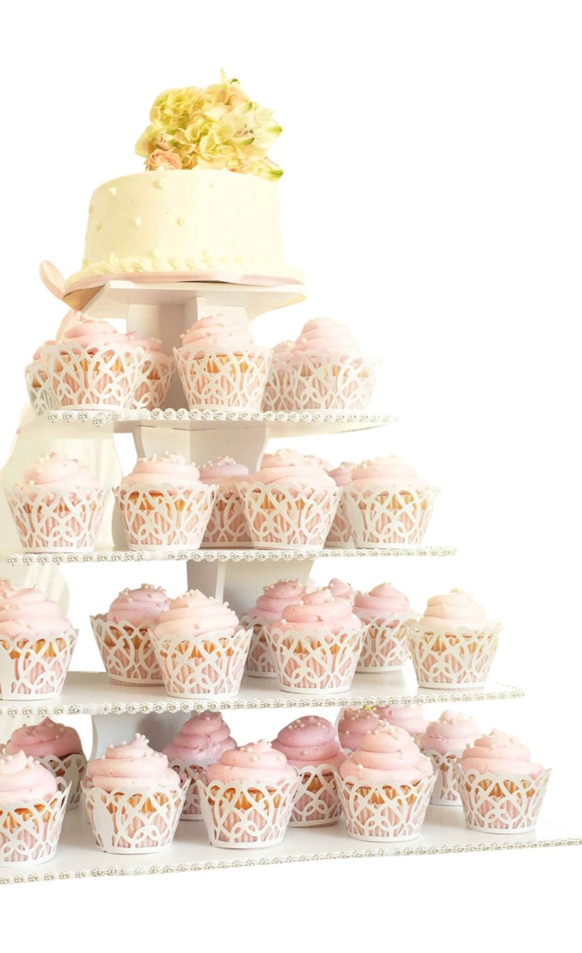 The Smart Baker 5 Tier Square Cupcake Stand PRO- Holds 100+ Cupcakes As Seen on Shark Tank Cupcake Tower for Professional Use by The Smart Baker