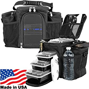 Meal Prep Insulated Lunch Bag - Isobag 3 Meal Thin Blue Line - 4 Fully Insulated Compartment Meal Management System - Includes 6 Reusable BPA-free Containers, 2 Ice Packs & Padded Shoulder Strap