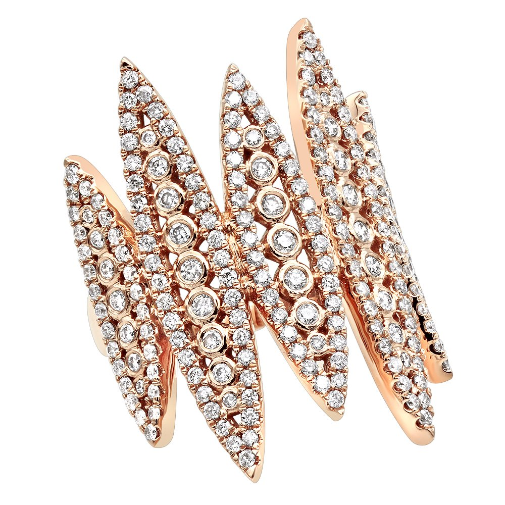 Ladies Unique 14k Rose, White or Yellow Gold Designer Diamond Fashion Ring 1.25ctw (Rose, Size 6.5)