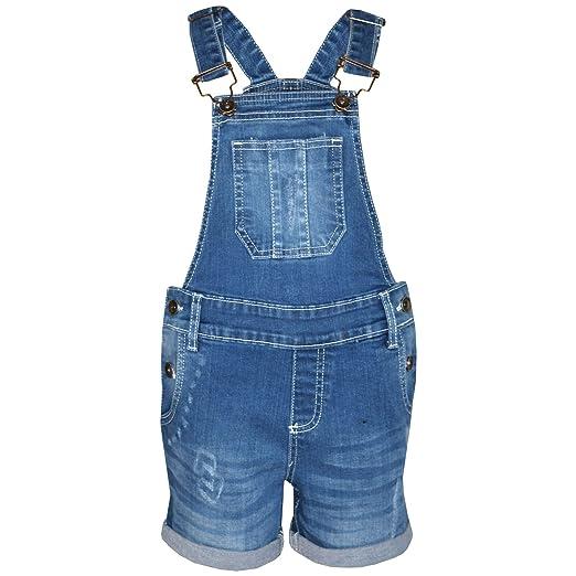 A2Z 4 Kids Kinder Mädchen Latzhose Kurze Hose Hellblau Designer Denim Zerrissen dehnen Jeans Overall Alles in Einem Jumpsuit