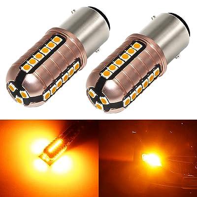 Phinlion 3000 Lumens 1157 LED Orange Turn Signal Light Bulbs Super Bright 3030 27-SMD BAY15D 2357 7528 LED Bulb for Turn Signal Blinker Lights, Amber Yellow: Automotive